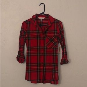 NWT long sleeve red flannnel button down shirt